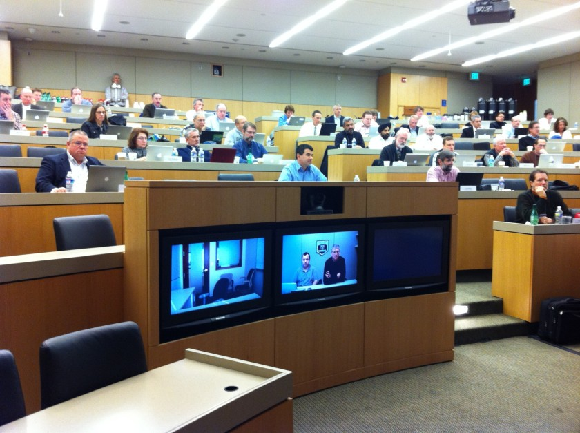 the view the presenter has in the Duke Fuqua telepresence room